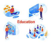 Education flat isometric vector illustrations set