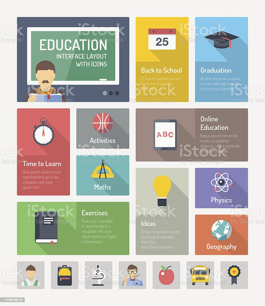 Education flat web elements with icons vector art illustration