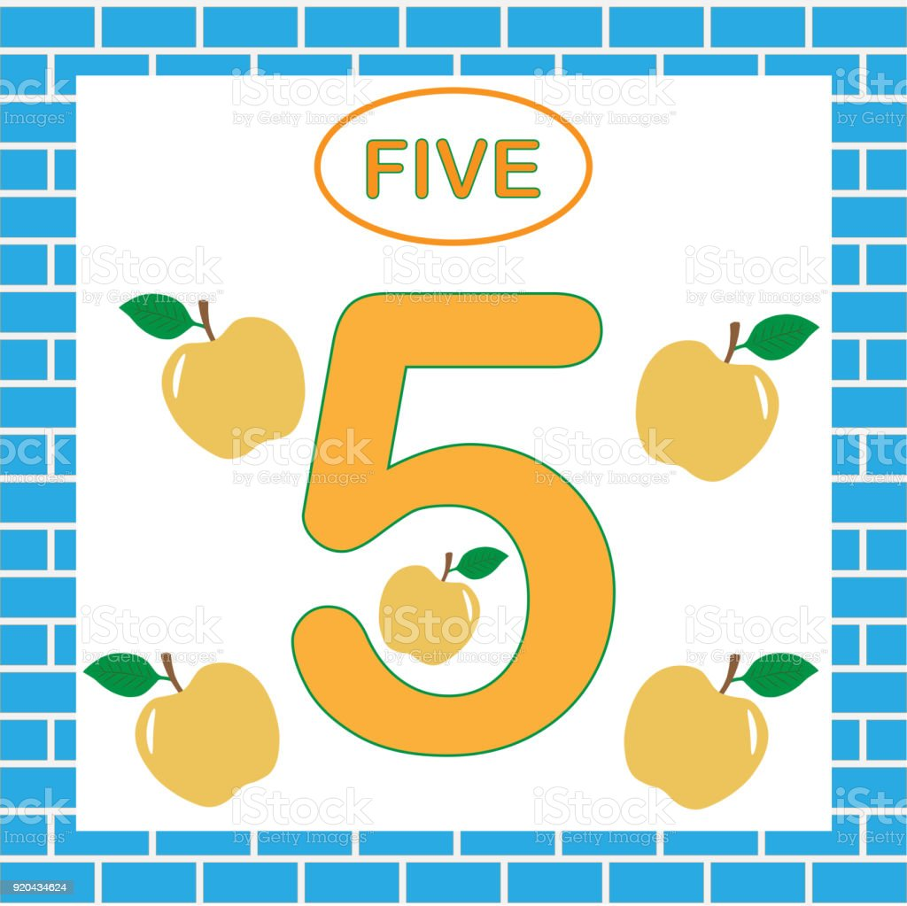 Education For Children Learning Numbers Mathematics Card With Number ...