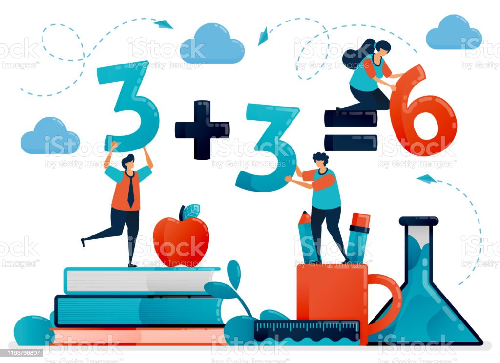Education For Children Mathematic Lesson To Count And Number Kids Learning In School Preschool Kindergarten Flat Character Vector Illustration For Landing Page Web Banner Mobile Apps Poster Stock Illustration Download Image
