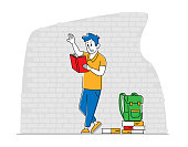 Education, Gaining Knowledge Concept. Young Man Student Character Prepare to Exams in University or College Stand on Brick Wall Background with Textbooks and Backpack. Linear Vector Illustration