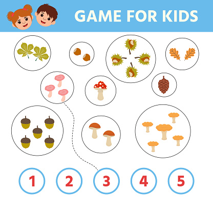 Education game for children. How many mushrooms. Kids learning material.