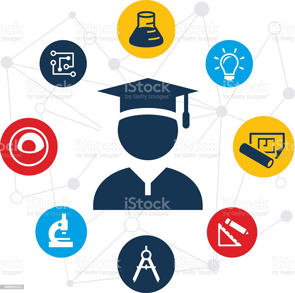 Stem Education: Stem Education Graduate Illustration Stock Vector Art