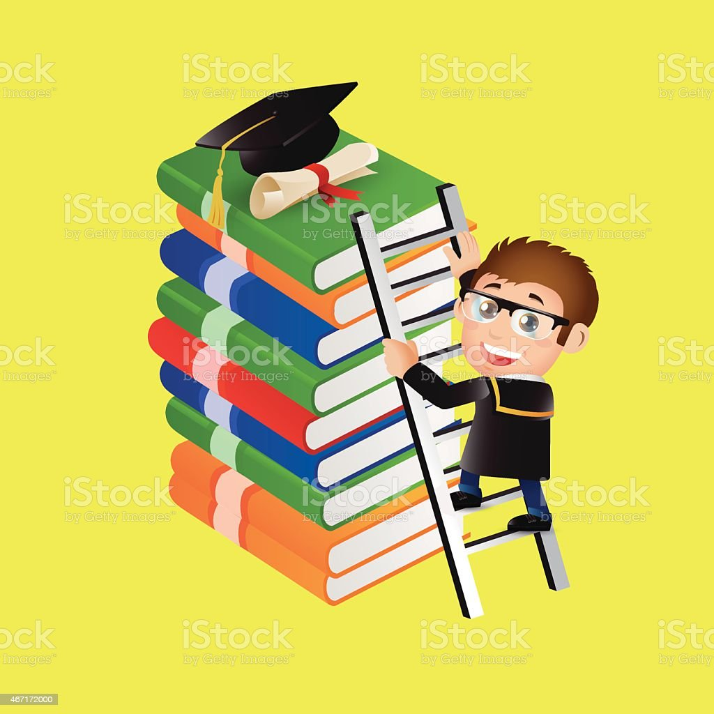 Education Graduate Student Climbing On Ladder To Reach Graduate ... for Student Climbing Ladder  83fiz