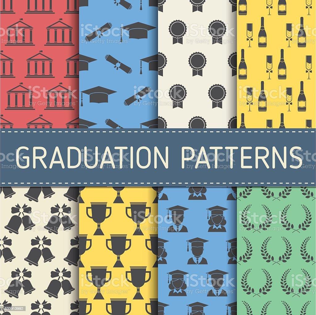 Colección de patrón de graduación de educación - ilustración de arte vectorial