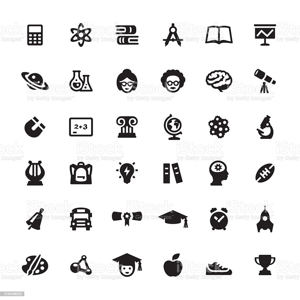 Education & Graduation vector symbols and icons vector art illustration