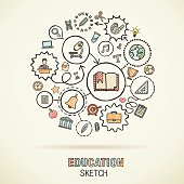 Education hand draw connected sketch icons. Vector doodle infographic illustration