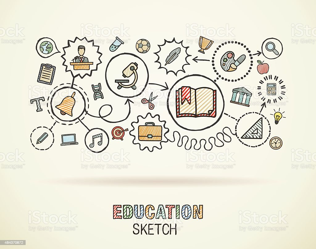 Main dessiner doodle intégré l'éducation icônes ensemble. Vecteur croquis de l'illustration. - clipart vectoriel de 2015 libre de droits