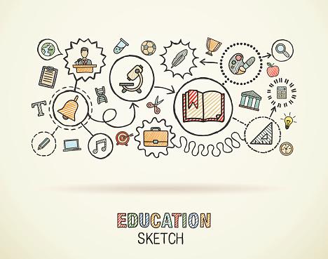 Main Dessiner Doodle Intégré Léducation Icônes Ensemble Vecteur Croquis De Lillustration Vecteurs libres de droits et plus d'images vectorielles de 2015