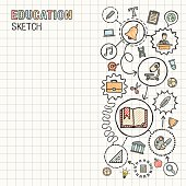 Education hand draw integrated vector sketch icons set on paper.