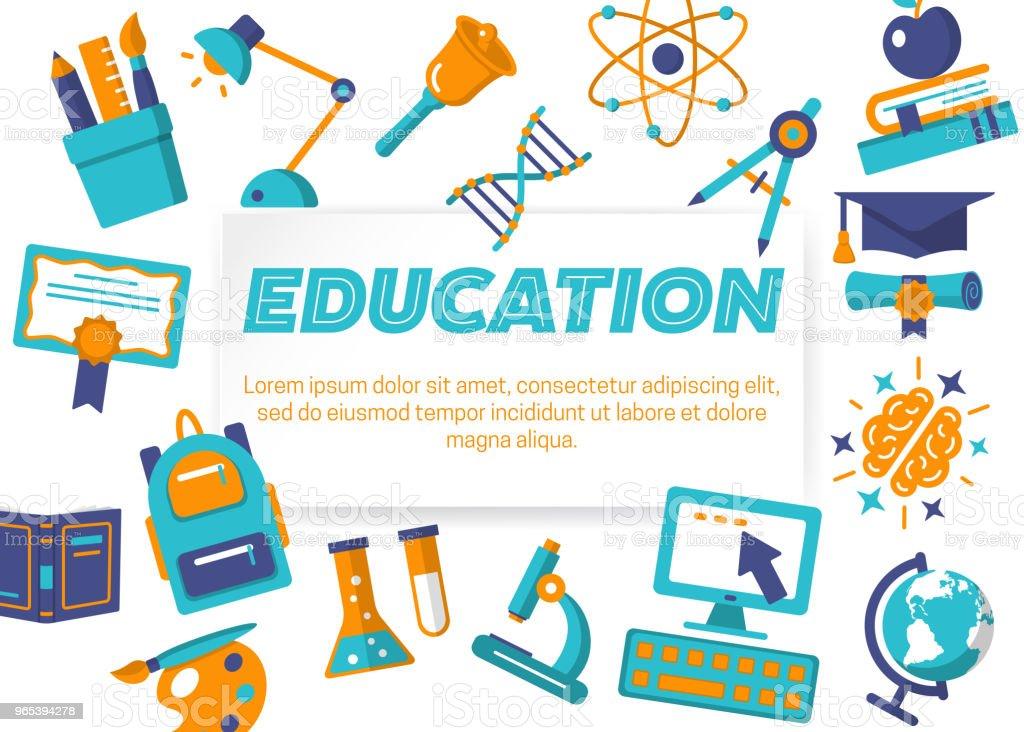 Education horizontal flat banner - Grafika wektorowa royalty-free (Akcesorium osobiste)