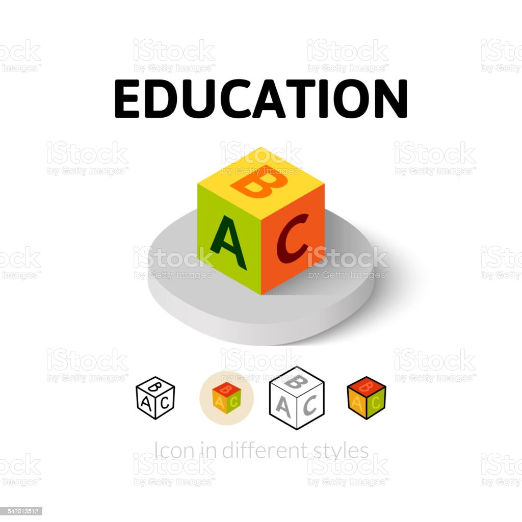 Education icon in different style vector art illustration