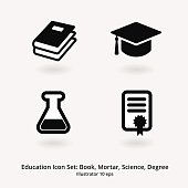 Education Icon Set: Books, Mortar, Science, Degree