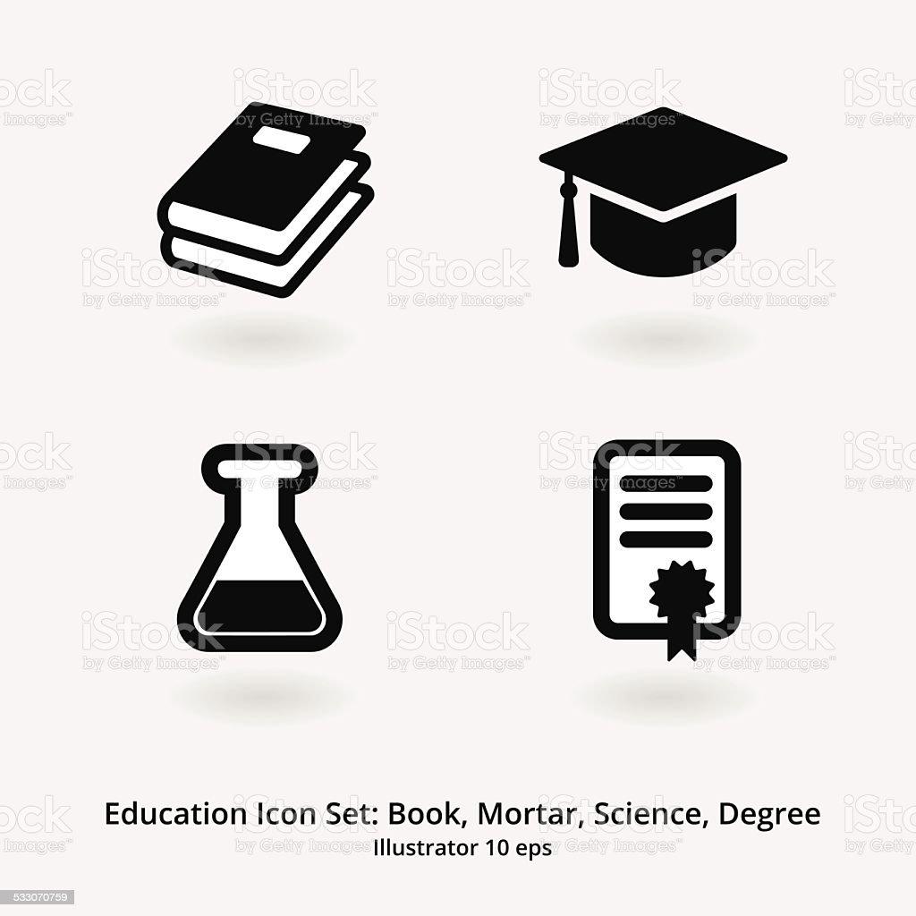 Bildung Icon-Set: Bücher, Mörtel, Science-Abschluss – Vektorgrafik