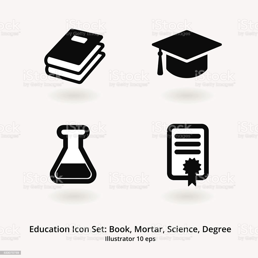 Education Icon Set: Books, Mortar, Science, Degree vector art illustration
