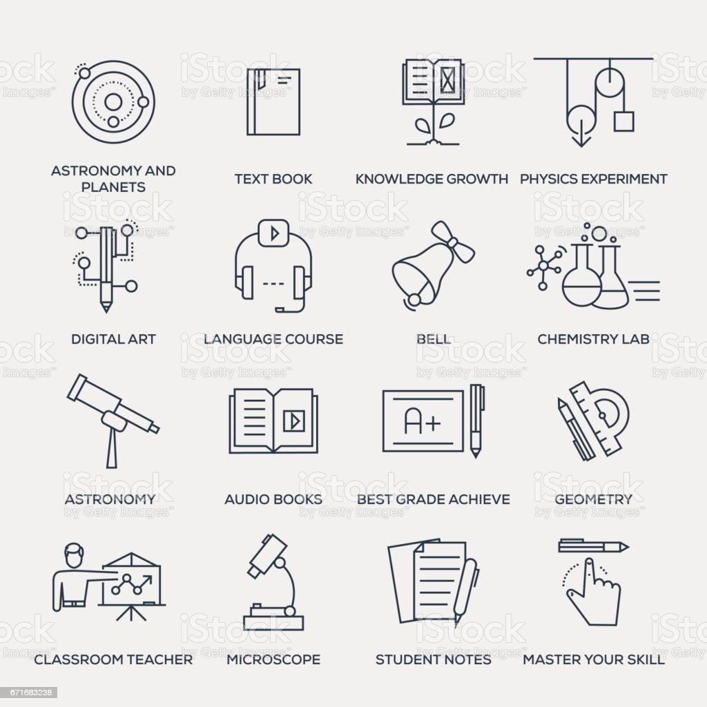教育のアイコンセットラインシリーズ ベクターアートイラスト
