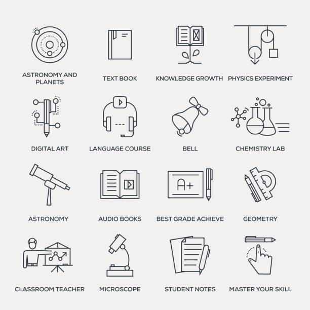 教育のアイコンセットラインシリーズ - 語学の授業点のイラスト素材/クリップアート素材/マンガ素材/アイコン素材
