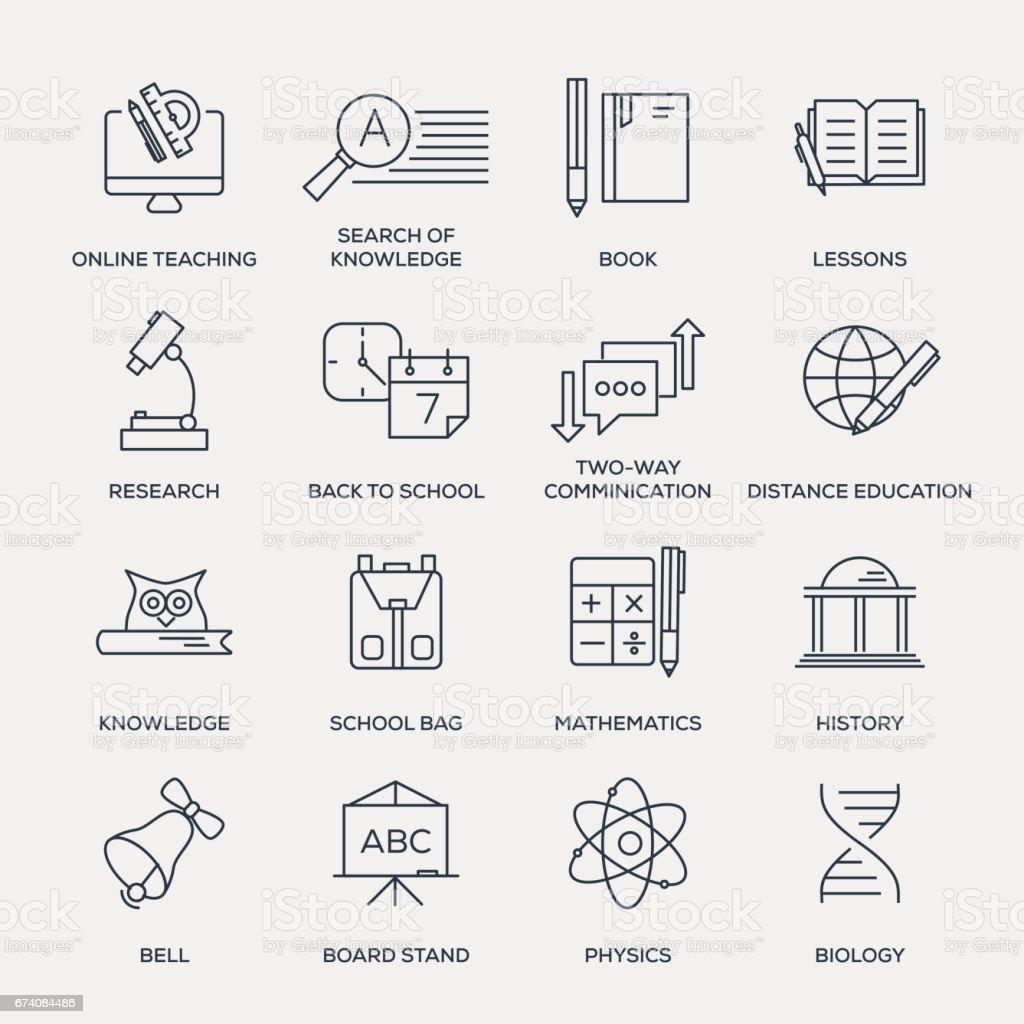 Bildung-Icon-Set-Line Serie – Vektorgrafik