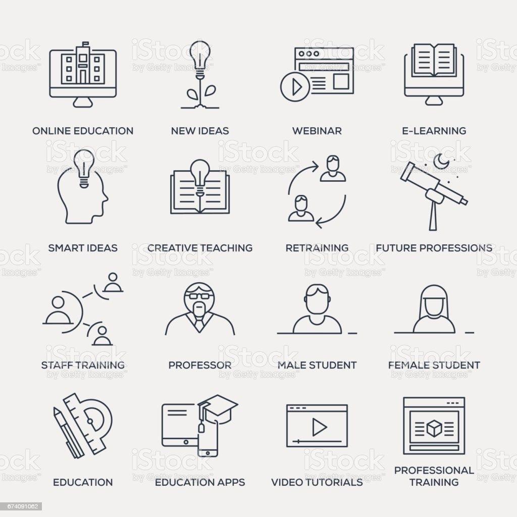 Education Icon Set - Line Series vector art illustration