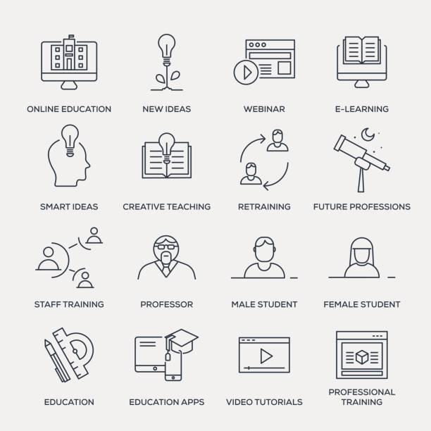 教育のアイコンセットラインシリーズ - 教授点のイラスト素材/クリップアート素材/マンガ素材/アイコン素材