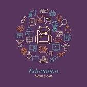 Education icon set, Logo design template