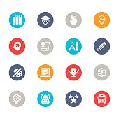 Set of 16 education vector multicolor icons.