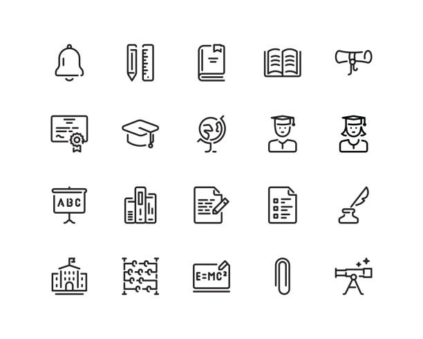 Education icon set, outline style 20 pixel perfect Education icon set in outline style campus stock illustrations