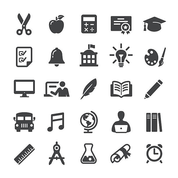 illustrations, cliparts, dessins animés et icônes de education icon set - smart series - fournitures scolaires