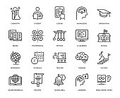 Education Icon Set - Thin Line Series