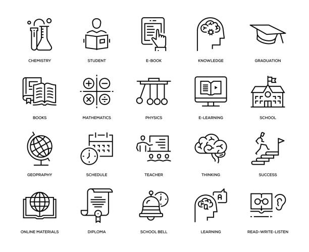 eğitim icon set - fiziki coğrafya stock illustrations