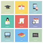 Education Icon Set Flat Design