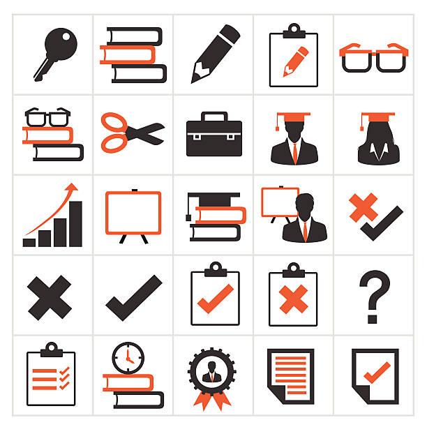 ilustrações, clipart, desenhos animados e ícones de conjunto de ícones de educação - aula de idioma