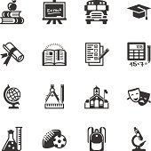 Education icon set, transparent 24-bit PNG included.