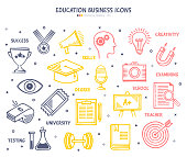 Set of doodle vector illustrations of the education business.