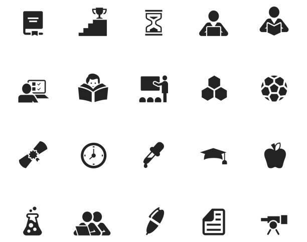 ilustraciones, imágenes clip art, dibujos animados e iconos de stock de conjunto de iconos de educación - sólido