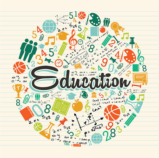 Education icons backgroundvectorkunst illustratie