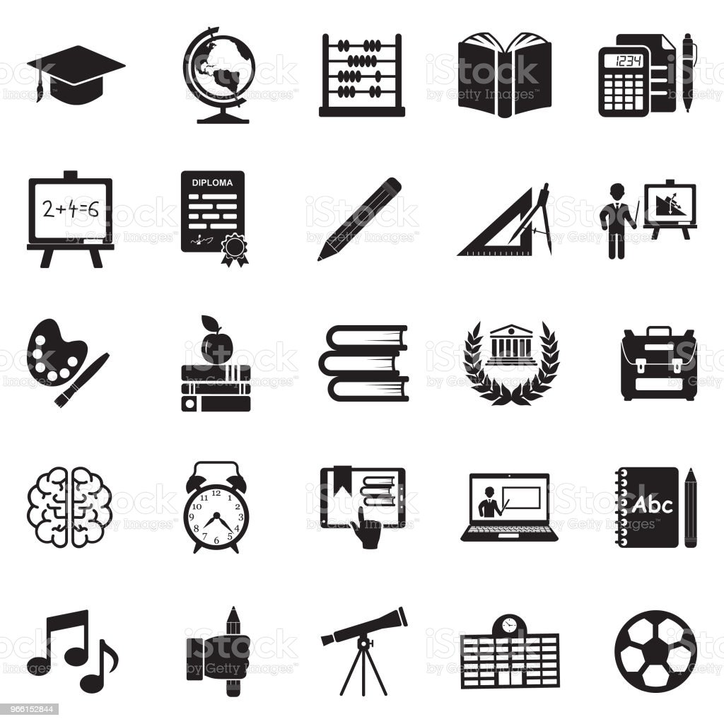 Education Icons. Black Flat Design. Vector Illustration. - Royalty-free Alarm Clock stock vector