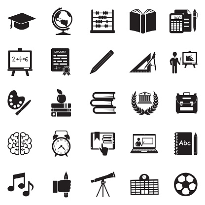 Education Icons. Black Flat Design. Vector Illustration.