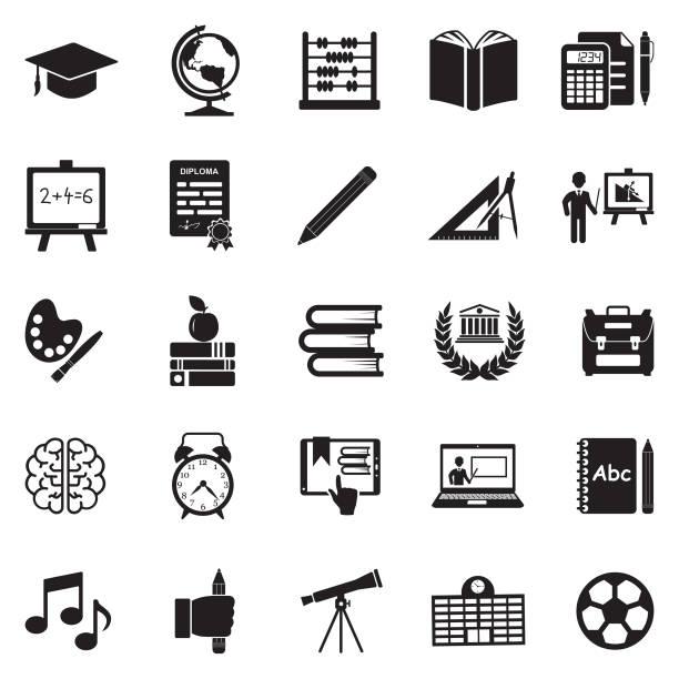 illustrazioni stock, clip art, cartoni animati e icone di tendenza di icone dell'educazione. design piatto nero. illustrazione vettoriale. - scuola