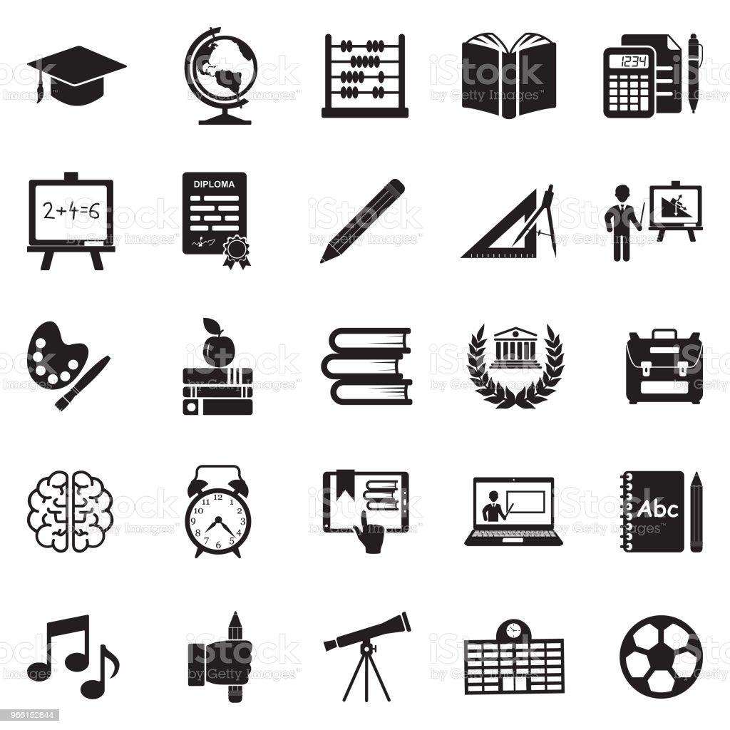 Ícones de educação. Projeto liso preto. Ilustração em vetor. - ilustração de arte em vetor