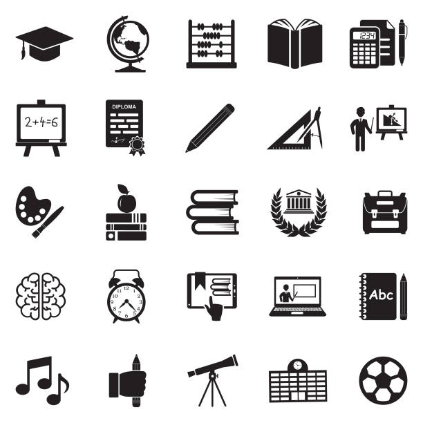 Education Icons. Black Flat Design. Vector Illustration. School, University, College, Education, Learning students stock illustrations