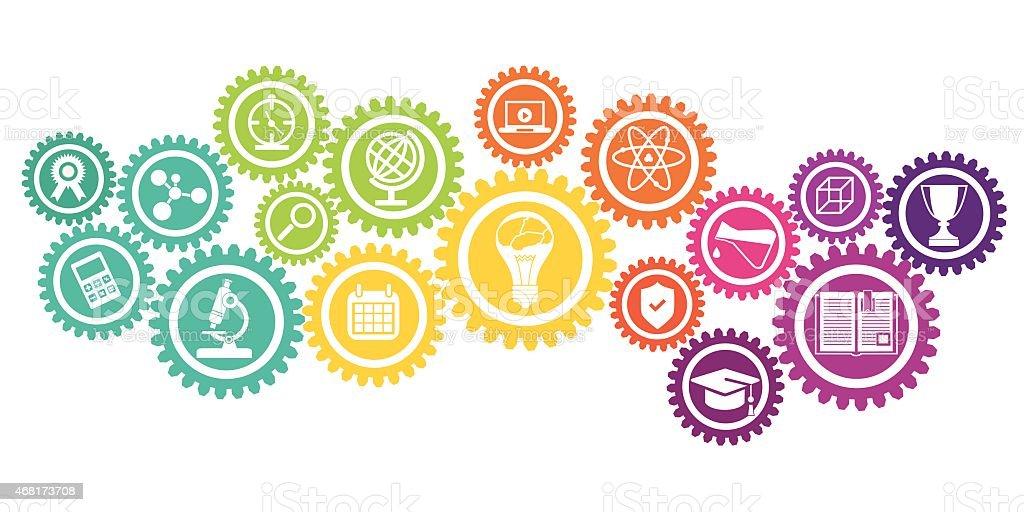 Education icons in cog wheel vector art illustration