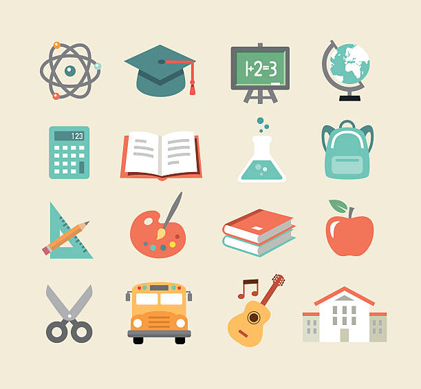 教育のアイコンとフラットなデザインスタイル - 数学の授業点のイラスト素材/クリップアート素材/マンガ素材/アイコン素材