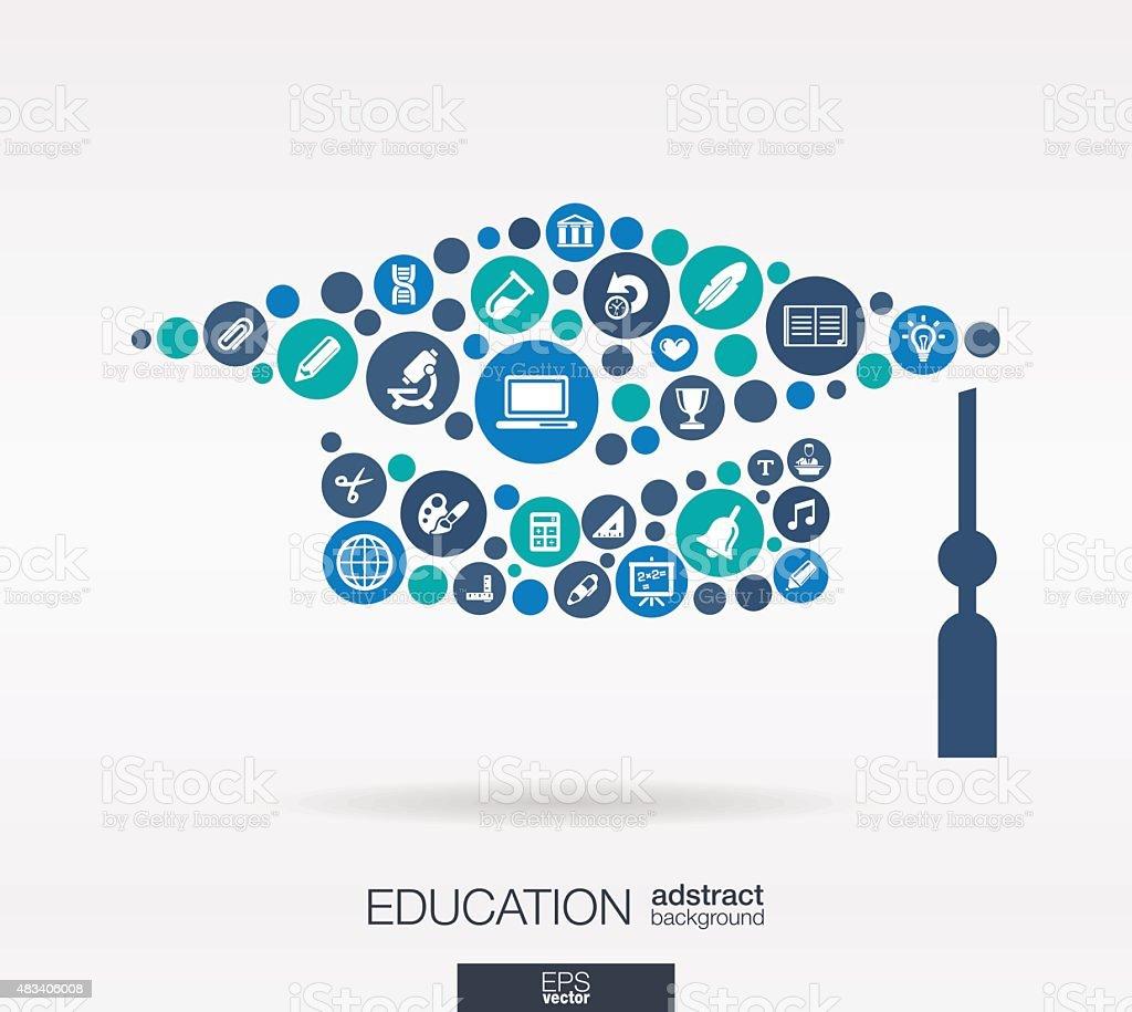 Icônes de l'éducation dans des chapeaux forme abstrait: illustration vectorielle. - clipart vectoriel de 2015 libre de droits