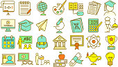 Vector illustration of a set of Education icons in outline lineart style. Includes lot's of design elements. Fully editable. EPS 10.