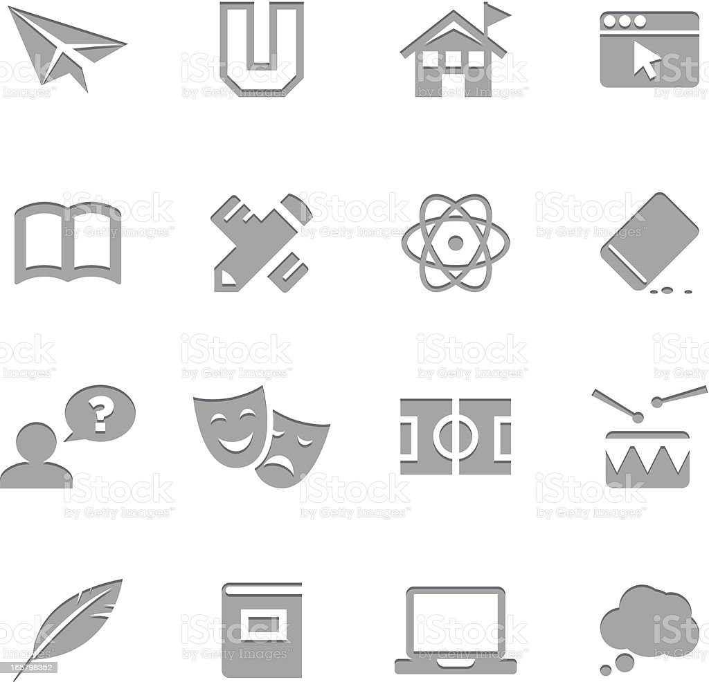 Education Icons  | Letterpress Series royalty-free education icons letterpress series stock vector art & more images of airplane