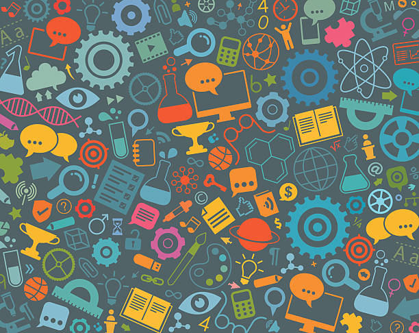 ilustraciones, imágenes clip art, dibujos animados e iconos de stock de iconos de educación sobre fondo gris patrón - fondos escolares