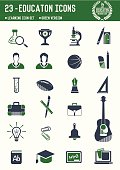 Education icons on white background,Green version,clean vector