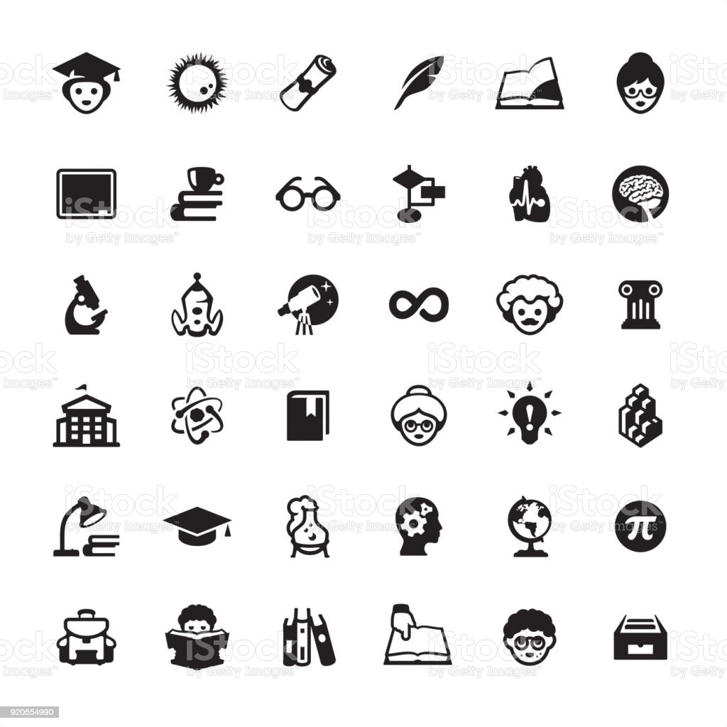 Education icons pack vector art illustration