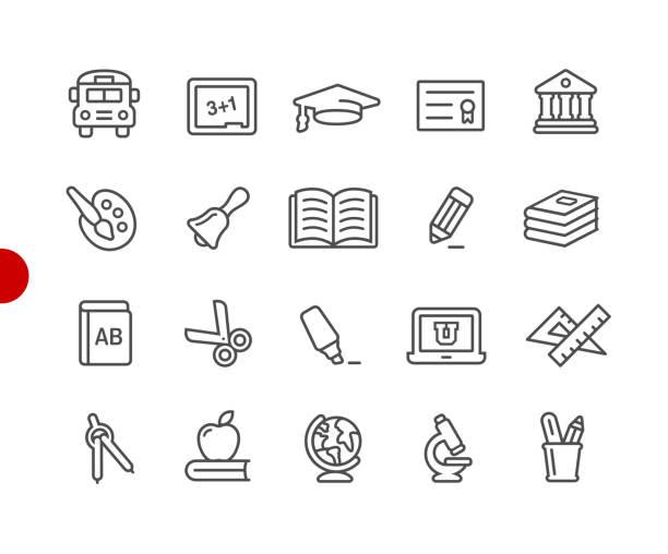 illustrations, cliparts, dessins animés et icônes de icônes de l'enseignement / / red point série - niveau primaire